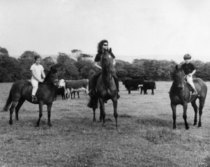 John F. Kennedy Jr. on a pony called Pal, Jacqueline Kennedy riding a horse called Evelyn, and Caroline Kennedy on a pony named Danny Boy at Woodstown, County, Waterford, in Eire while spending a month