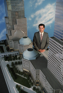 Albert Reichmann with a model of the World Financial Center, soon to be built by the Reichmann brothers