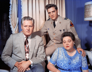 Elvis Presley with his father, Vernon, and his mother, Gladys Lovecirca 1958** I.V. - Image 24383_0050