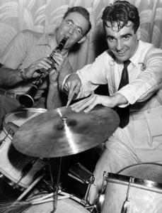 "Benny Goodman and Gene Krupa rehearsing in New York for the ""Camel Caravan""1937** I.V.M. - Image 24383_0160"