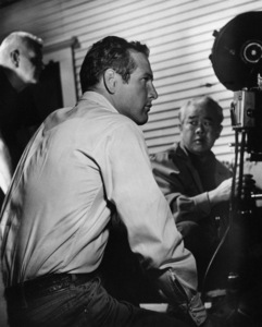 "Paul Newman and cinematographer James Wong Howe on the set of ""Hud""1963 Paramount** I.V. - Image 24383_0461"