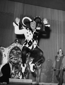 Lee Liberace in harlequin costume during show at the Hotel Riviera in Las Vegas 1955** I.V. - Image 24383_0594