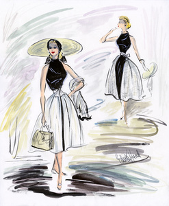 """Edith Head sketch of Grace Kelly for the film """"To Catch a Thief""""1955** I.V. - Image 24383_0733"""