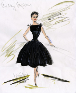 "Edith Head sketch of Audrey Hepburn for the film ""Sabrina""1954** I.V. - Image 24383_0734"