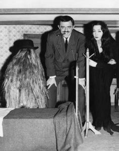 """The Addams Family"" (Episode: Cousin Itt and the Vocational Counselor)Felix Silla, John Astin, Carolyn Jones1965** I.V. - Image 24383_0751"