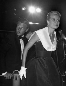 """Grace Kelly (wearing the Caracas dress, Christian Dior-New York collection, Spring-Summer 1954) at the premiere of """"Rear Window"""" with Oleg Cassini1954Photo by Jack Albin** I.V. - Image 24383_0772"""