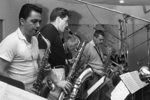 "Art Pepper, Med Flory, Bill Perkins, Bud Shank, Bob Enevoldsen and Mel Lewis at the session for ""Art Pepper + Eleven""1960© 1978 Roger Marshutz** I.V.M. - Image 24383_0804"