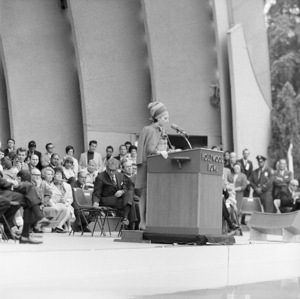 Barbra Streisand attends a pro-Israel rally at the Hollywood Bowl in Los Angeles to raise emergency funds for Israel after the Six-Day War (in background are Tom Bradley and Carl Reiner)11th June 1967** J.C.C. - Image 24385_0045