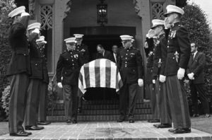 Marines attend the funeral of 1LT Ronald Walsh McLean (son of Gloria Hatrick Stewart, and stepson of James Stewart. He was killed in action in Vietnam)1969** J.C.C. - Image 24385_0052