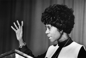 Shirley Chisholm speaking at Clark College in Atlanta, Georgia1972© 1978 Ron Sherman - Image 24387_0024