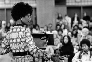 Shirley Chisholm speaking at Georgia State University in Atlanta1972© 1978 Ron Sherman - Image 24387_0026