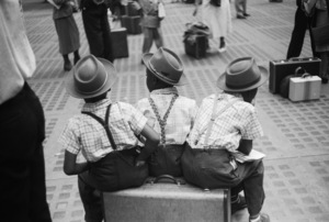 Boys on suitcase at Penn Station in New York City1948© 1978 Ruth Orkin - Image 24388_0031