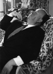 """Director Alfred Hitchcock on the set of """"I Confess"""" in Hollywood, California 1953 © 1978 Ruth Orkin - Image 24388_0040"""