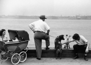 A man sits next to a dog and pets another dog, held on a leash by a man who is smoking a cigar. A woman with a baby in a stroller sits to their left, Gansevoort Pier, New York City1948© 1978 Ruth Orkin - Image 24388_0801
