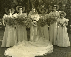 Group portrait of a bride, Gabrielle Wright Bradley, and her bridesmaids, including Julia Child, second from the right, standing outdoors1937© 1978 Tom Kelley - Image 24392_0001
