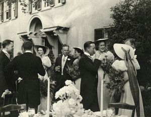 Julia Child with other members of the wedding party standing outdoors at the reception for the wedding of Gabrielle Wright Bradley1937© 1978 Tom Kelley - Image 24392_0002