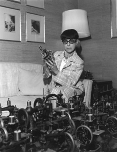 Edith Headin her office with her sewing machine collection1971 © 1978 Larry Kastendiek - Image 2466_0025