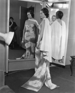 Edith Head supervises final fitting of Dorothy Lamour