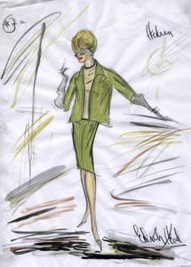 "Edith Head sketch of Tippi Hedren for the film ""The Birds"" 1963** I.V. - Image 2466_0052"