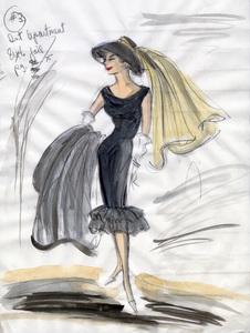 "Edith Head sketch of Audrey Hepburn for the film ""Breakast at Tiffany"