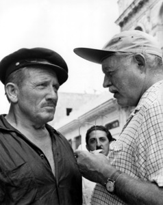 """Ernest Hemingway with Spencer Tracy during the filming of """"The Old Man and the Sea""""1958Photo by Floyd McCarty - Image 2473_0006"""