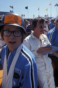 Arte Johnson and Dick Smothers at a celebrity car race at the Ontario Motor Speedway1970 © 1978 Gunther - Image 2527_0019