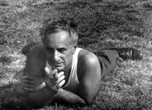 "Elia Kazan stretching between sceneson his film ""The Arrangement""1969 © 1978 Bruce McBroom - Image 2544_0103"