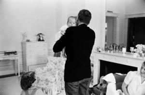 John F. Kennedy, John Kennedy Jr., Caroline Kennedy, Nanny Mrs. Maud Shaw at The White House nursery1961 © 2000 Mark Shaw - Image 2554_0034