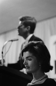 Jacqueline and John F. Kennedy in the basement of a church in Wheeling, West Virginia during a presidential campaign stop1959© 2000 Mark Shaw - Image 2554_0050