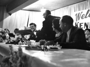 John F. Kennedy with wife Jacqueline Kennedy in Wheeling, West Virginia 1959 © 2000 Mark Shaw - Image 2554_0100