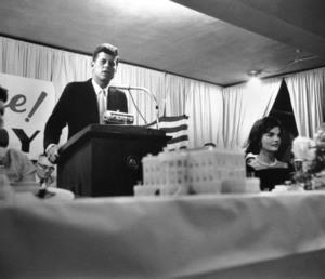 John F. Kennedy with Jacqueline Kennedy in Wheeling, West Virginia1959 © 2000 Mark Shaw - Image 2554_0102