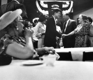 John F. Kennedy with Jacqueline Kennedy in Wheeling, West Virginia1959 © 2000 Mark Shaw - Image 2554_0105