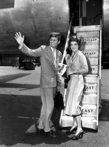 John F. Kennedy and Jackie Kennedyat Laguardia Airport leaving for Cape Cod1953**I.V. - Image 2554_0138
