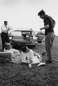 John F. Kennedy with Charles (Chuck) Spalding (roommate at Harvard), and Prince Stanislas (Stash) Radziwill after a 50 mile hike down the Sunshine Parkway towards Miami, Florida 1963 © 2000 Mark Shaw - Image 2554_0146