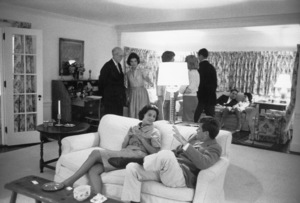 John F. Kennedy entertaining guests in Hyannis Port with wife Jacquelinecirca 1960 © 2000 Mark Shaw - Image 2554_0147