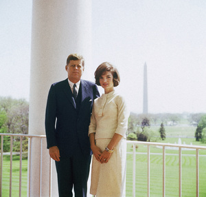 John F. Kennedy and Jacqueline Kennedy in April of 1961 on the South Portico of the White House© 2011 Mark Shaw - Image 2554_0185