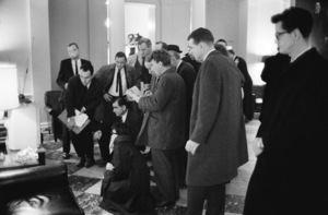 The press in the White House shortly after President John F. Kennedy had been assassinated in November of 1963© 2012 Mark Shaw - Image 2554_0197