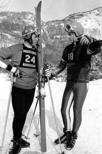 Jean-Claude Killy (right) and Jean-Daniel Daetwyler chat together between practice runs at Cannon Mountain03-08-1967 - Image 2560_0003