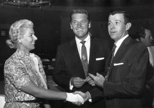 Gordon Macrae with wife Sheila and Dennis Day in Las Vegas, 1955. © 1978 Sid Avery - Image 2636_0042