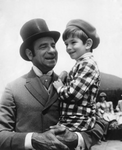 """Walter Matthau and his son Charles (""""Charlie"""") on location for """"Hello, Dolly!"""" in Garrison, NY1969 - Image 2666_0155"""