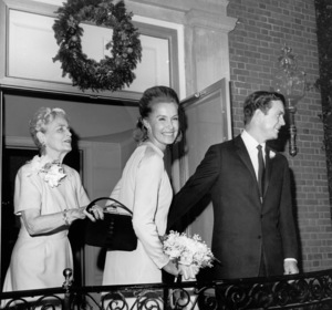 Dina Merrill and Cliff Robertson leaving the Washington D.C. estate of her mother, cereal heiress Marjorie Merriweather Post1966 - Image 2692_0007