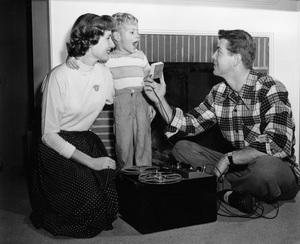 Gene Nelson at home with wife Miriam Franklin and son Alan Christopher1951Photo by Floyd McCarty - Image 2742_0002