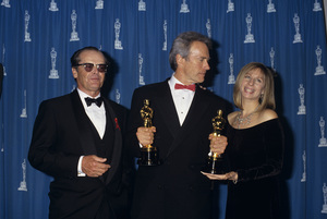 "Jack Nicholson with Clint Eastwood and Barbra Stresisand at ""The 65th Annual Academy Awards""1993© 1993 Gary Lewis - Image 2754_0057"