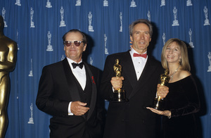 "Jack Nicholson with Clint Eastwood and Barbra Stresisand at ""The 65th Annual Academy Awards""1993© 1993 Gary Lewis - Image 2754_0060"
