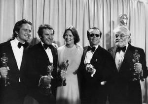 "Michael Douglas, Milos Forman, Louise Fletcher, Jack Nicholson and Saul Zaentz at the 1976 Academy Awards Oscar sweep for ""One Flew Over the Cuckoo"