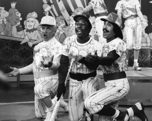 "Ted Knight, Hank Aaron and Tony Orlando on ""Tony Orlando and Dawn""1975Photo by Gabi Rona - Image 2789_0006"