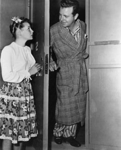 """Dick Powell and June Allyson on the Columbia Pictures sound stage where """"Johnny O"""