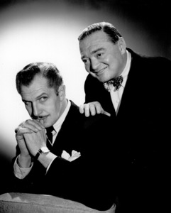 Vincent Price with Peter Lorre, c. 1950.Photo by Gabi Rona - Image 2837_0133