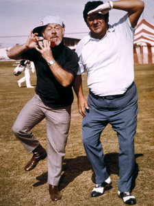 Mickey Rooney and Buddy Hackett clowning around at the Sahara resort in Las Vegas, Nevada1973Photo by Lester Nehamkin** G.L. - Image 2889_0135