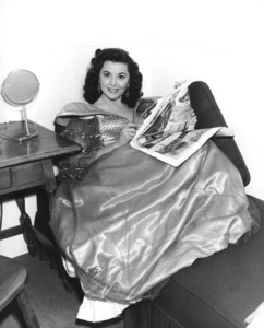 """Ann Rutherford in her dressing room during the filming of """"Adventures of Don Juan""""1948Photo by Lloyd MacLean - Image 2901_0003"""